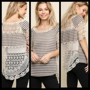 Detailed Striped Top with Crochet Accents
